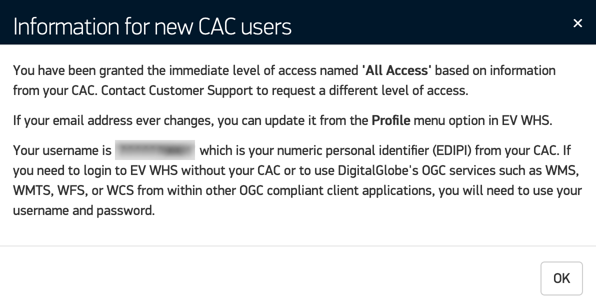 f6cb22b553 A first-time login message opens with information about your access level  and credentials. Review the message